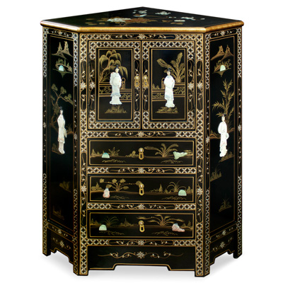 Black Lacquer Mother of Pearl Oriental Corner Cabinet