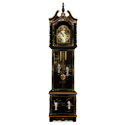 Black Lacquer Mother of Pearl Oriental Grandfather Clock