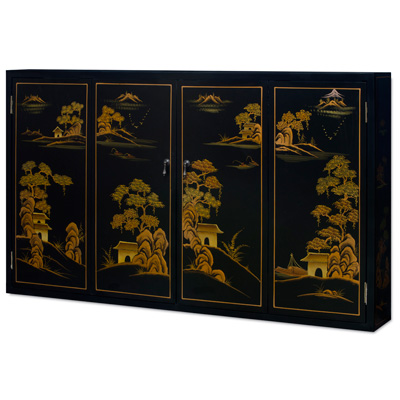 Chinoiserie Scenery Motif Oriental Wall Media Cabinet