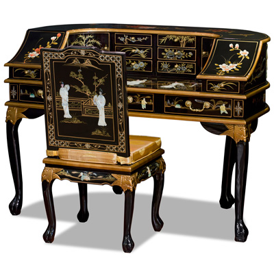 Black Lacquer Mother of Pearl Motif Harpsichord Style Oriental Desk Set