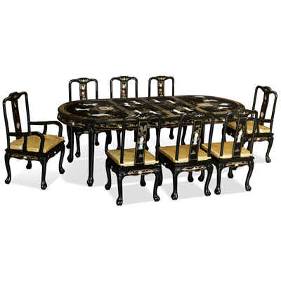 Black Lacquer Mother of Pearl Oval Oriental Dining Set with 8 Chairs