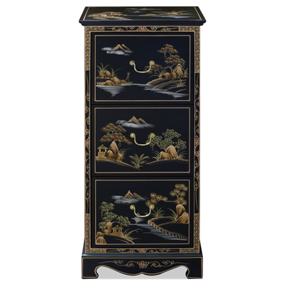 Chinoiserie Scenery Motif 3 Drawer Oriental File Cabinet