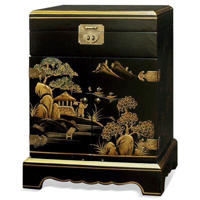 Chinoiserie Scenery Motif Chinese Jewelry Chest
