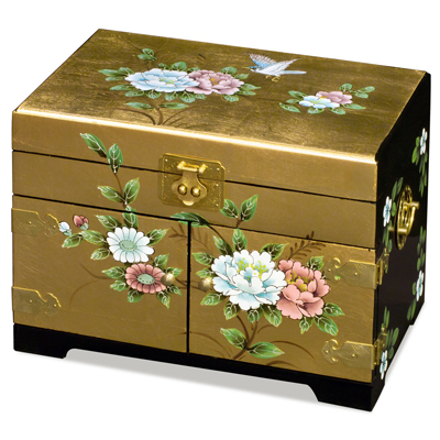 Gold Leaf Bird and Flower Motif Chinese Jewelry Box