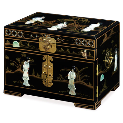 Black Lacquer Mother of Pearl Chinese Jewelry Box
