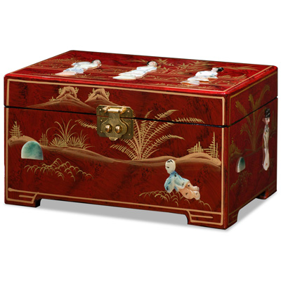Red Lacquer Mother of Pearl Chinese Jewelry Box