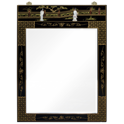 Black Lacquer Mother of Pearl Chinese Vertical Mirror
