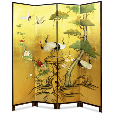 Gold Leaf Cranes and Peony Asian Floor Screen