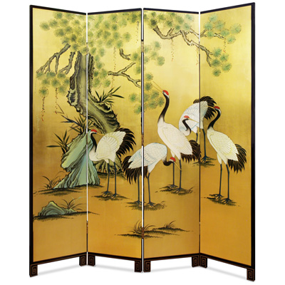 Gold Leaf Tranquility Cranes Asian Floor Screen