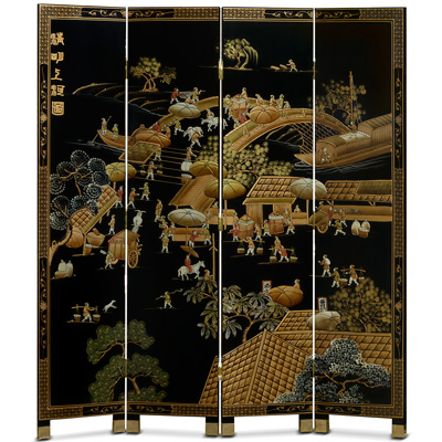 Chinoiserie Scenery Oriental Floor Screen with Spring Festival Scene