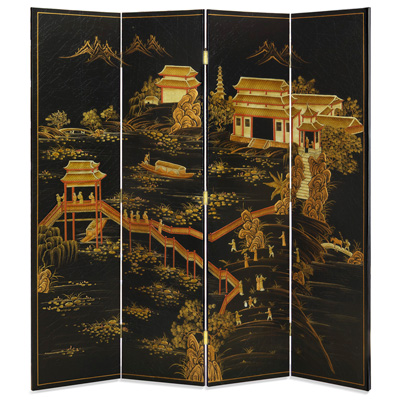 Chinoiserie Scenery Oriental Floor Screen with Panoramic Landscape Scene