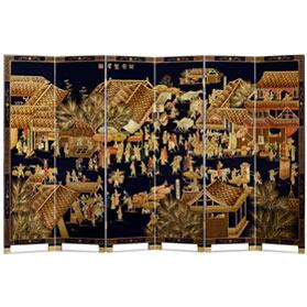 Chinoiserie Scenery 6 Panel Oriental Floor Screen with Spring Festival Scene