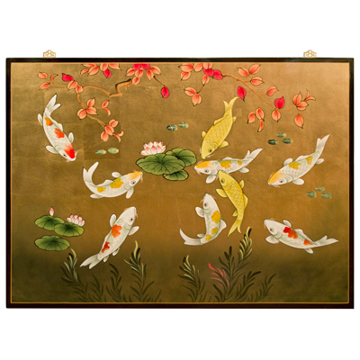 Gold Leaf Prosperity Koi Fish Asian Wall Art