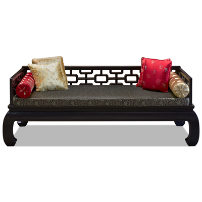 Distressed Black Elmwood Chinese Ming Day Bed