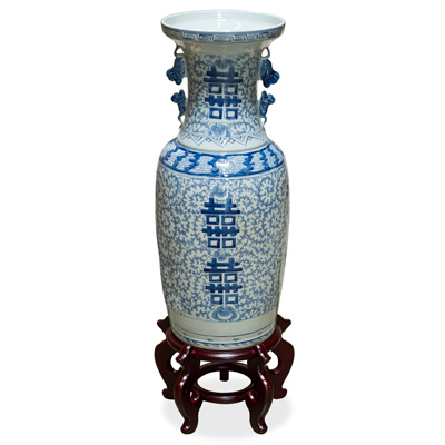 Blue and White Vintage Qing Double Happiness Chinese Vase