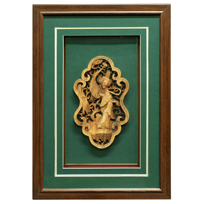 Lady with Lute Chinese Window Panel Shadow Box
