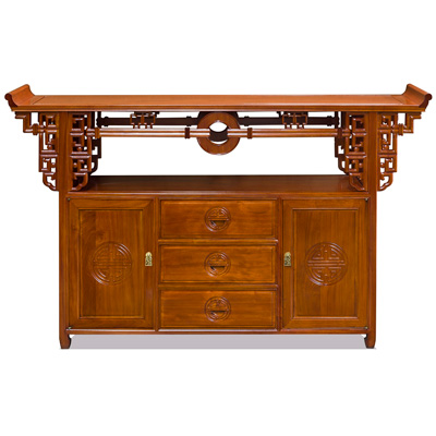 Natural Finish Rosewood Asian Altar Table Cabinet