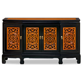 Black Trim Natural Finish Rosewood Longevity Sideboard with Lattice Doors