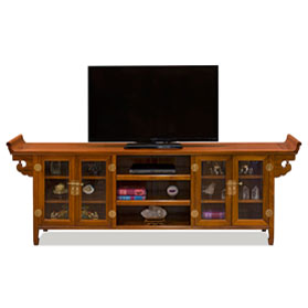 Natural Finish Rosewood Chinese Altar Media Cabinet