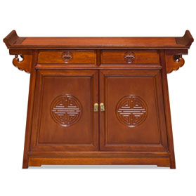 Natural Finish Rosewood Chinese Longevity Altar Cabinet