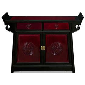Black Trim Dark Cherry Rosewood Chinese Longevity Altar Cabinet