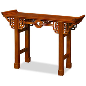 48 Inch Natural Finish Rosewood Coin Design Asian Altar Table