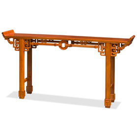 72 Inch Natural Finish Rosewood Coin Design Asian Altar Table