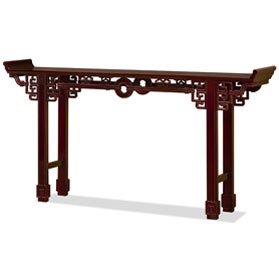 72 Inch Dark Cherry Rosewood Coin Design Asian Altar Table