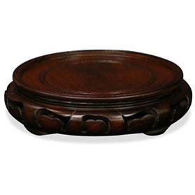 5.5 Inch Dark Brown Round Chinese Wooden Stand