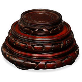 Assorted Dark Brown Round Chinese Wooden Stands