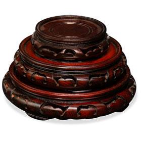 Assorted Dark Brown Round Chinese Wooden Stands
