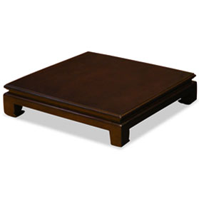 16 Inch Dark Brown Elmwood Chinese Square Stand