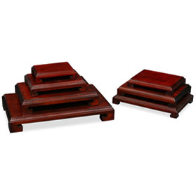 Dark Brown Wooden Rectangular Chinese Stands