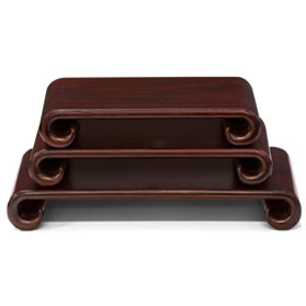 Assorted Dark Brown Wooden Chinese Scroll Stands