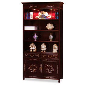 Dark Cherry Rosewood Mother of Pearl Inlay Asian Bookcase