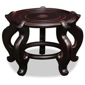 10.5 Inch Dark Brown Chinese Wooden Planter Stand