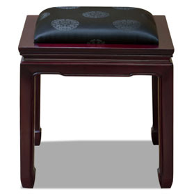 Dark Cherry Rosewood Chinese Ming Stool with Black Silk Cushion