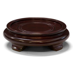 4.5 Inch Dark Brown Round Chinese Wooden Stand