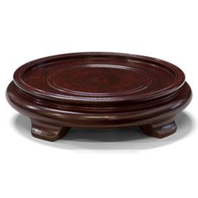 6 Inch Dark Brown Round Chinese Wooden Stand