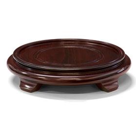 8 Inch Dark Brown Round Chinese Wooden Stand