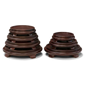Dark Brown Round Chinese Wooden Stands
