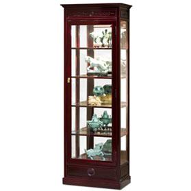 Dark Cherry Rosewood Ming Design Oriental Curio Cabinet