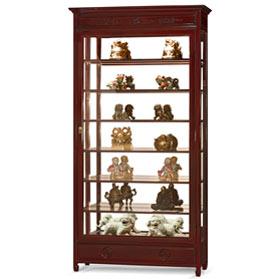 Dark Cherry Rosewood Chinese Longevity Design Curio Cabinet