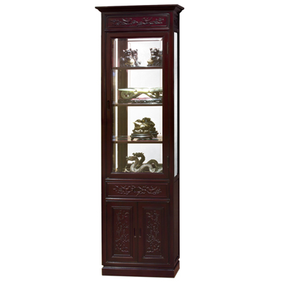 Cherry Rosewood Bird and Flower Motif Oriental Curio Cabinet