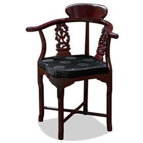 Dark Cherry Rosewood Flower & Bird Design Oriental Corner Chair