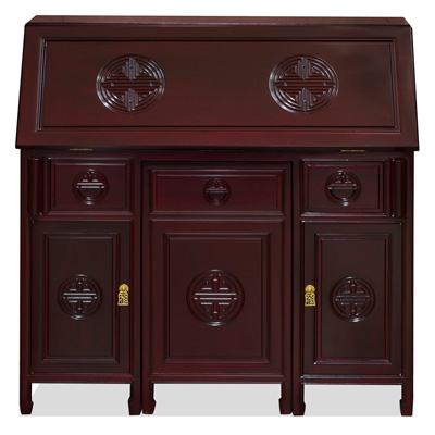 Dark Cherry Rosewood Longevity Design Asian Secretaire with Chair