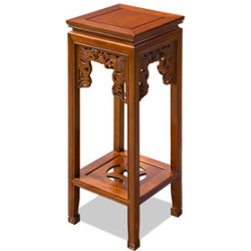 30 Inch Natural Finish Rosewood Imperial Dragon Asian Pedestal