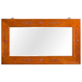 Natural Finish Rosewood Chinese Longevity Mirror
