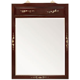 Dark Cherry Rosewood Mother of Pearl Inlay Asian Vertical Mirror