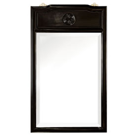 Black Rosewood Longevity Asian Vertical Mirror